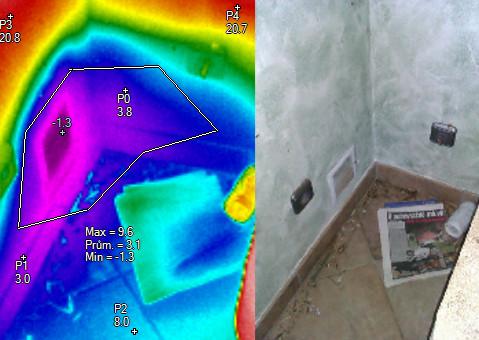 Pohled na pronikání chladu do interiéru, termovizní měření na Šumpersku