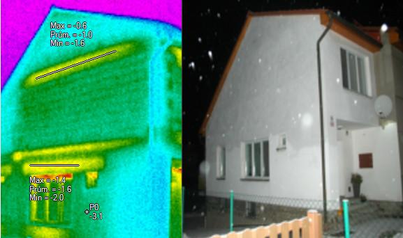 Štítová stěna, železobetonový věnec, překlady, termovizní měření na Šumpersku, termovize Šumperk, termovize budov, tepelný únik budovy