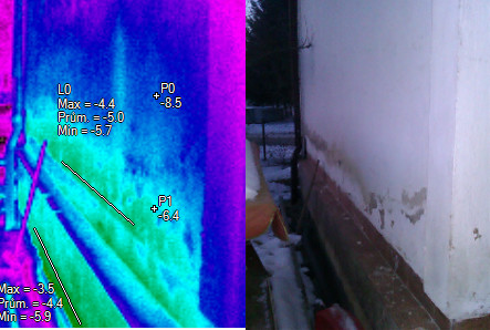 Vzlínání vlhkosti;  termovizní měření na Šumpersku