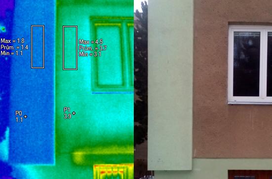 Porovnání zapteplené části domu vs. nezateplené; termocorp.cz, termovizní měření na Šumpersku, termokamera Šumperk