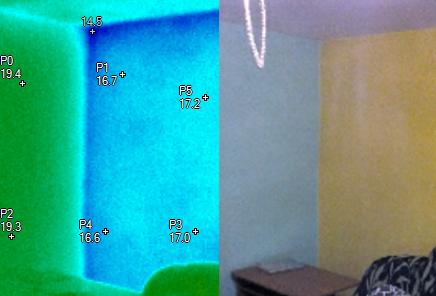 Porovnání rozložení teplot v obvodovém zdivu a vnitřní příčce, termovizní měření na Šumpersku, Olomoucku - termokamera Šumperk