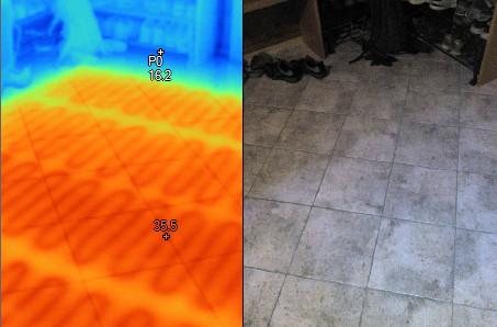 Elektrické podlahové topení pod dlažbou - termovize, termovizní měření na Šumpersku, Olomoucku - termokamera Šumperk